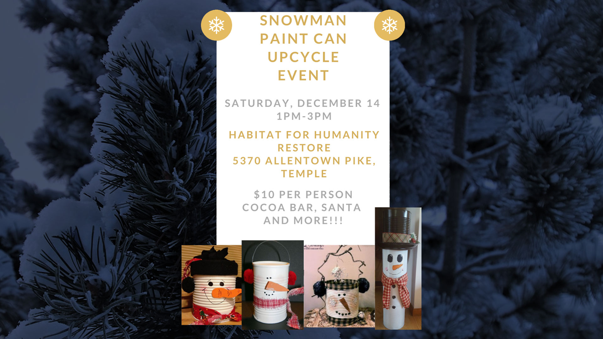 Snowman Paint Can Upcycle Event